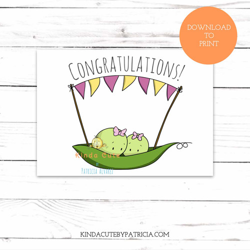 Twin girls peas congratulations new baby printable card