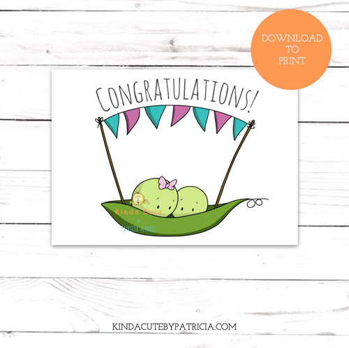 Twin boy and girl peas congratulations new baby printable card