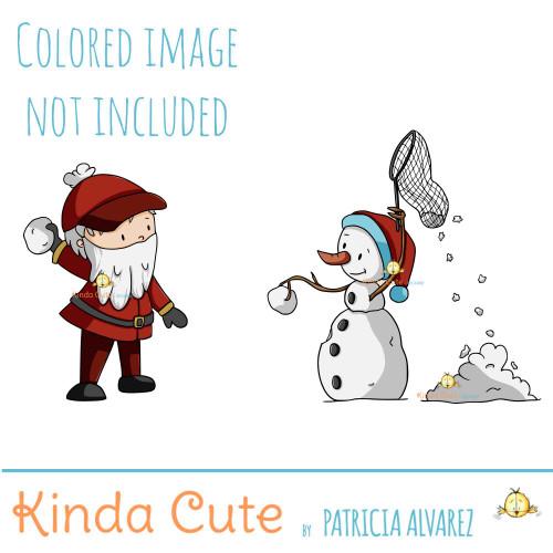 Santa playing catch digital stamp
