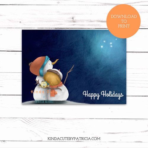 Happy holidays night with snowmen printable card