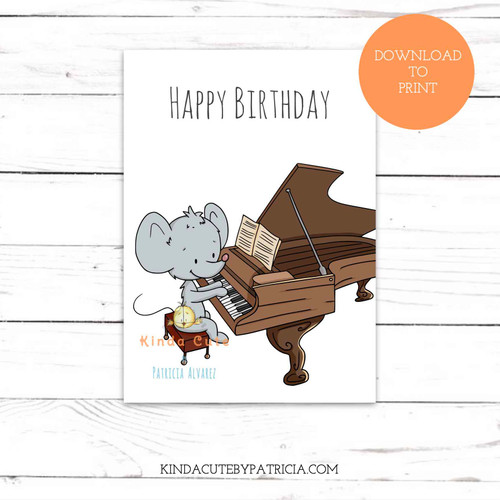 Mouse playing the piano birthday printable card.