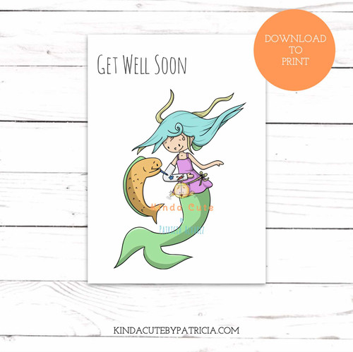 Get well soon with mermaid and broken arm printable card.