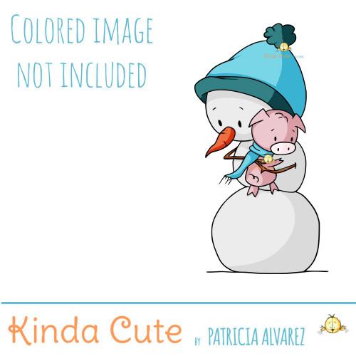 Snowman and pig digital stamp