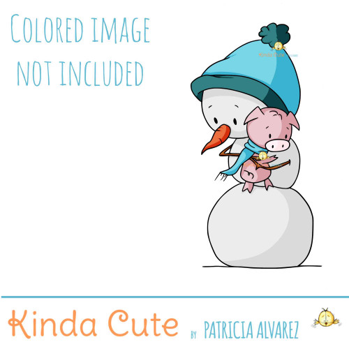 Snowman and pig digital stamp