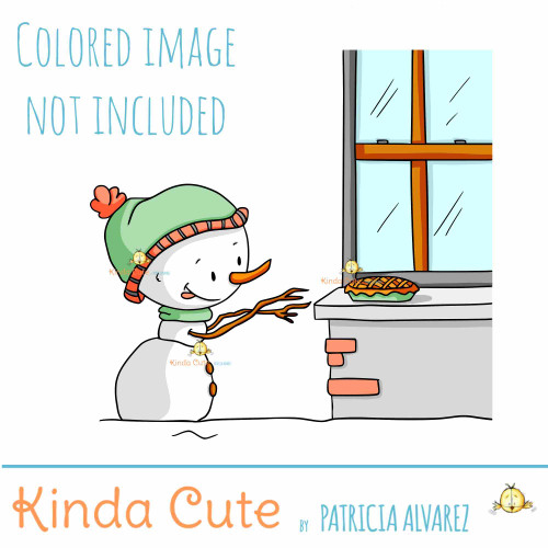 Snowman stealing pie digital stamp