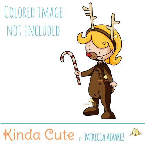 Kid in a reindeer costume digital stamp