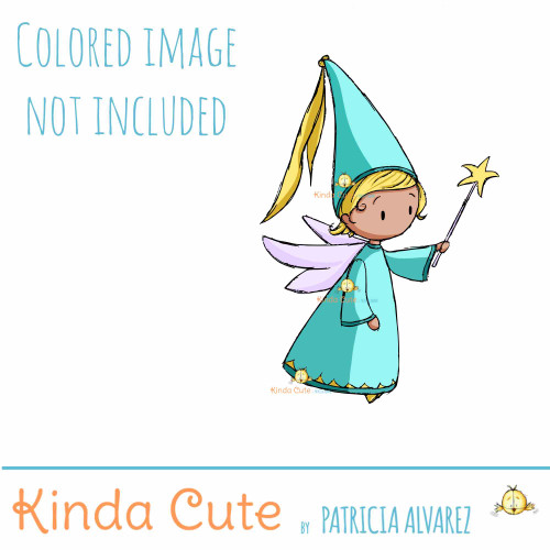 Fairy with wand Digital Stamp