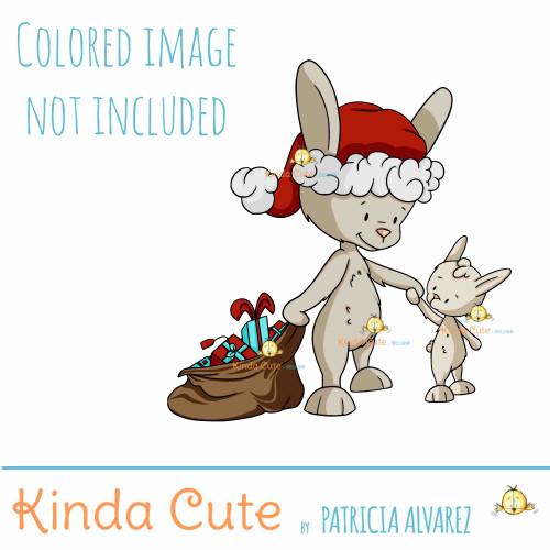 Christmas bunny digital stamp