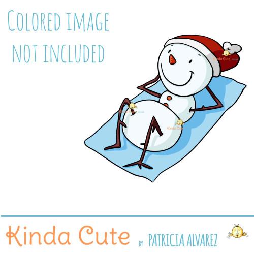 Snowman sunbathing digital stamp