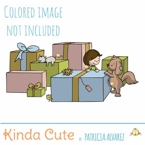 Among presents digital stamp. Kid and dog with presents.