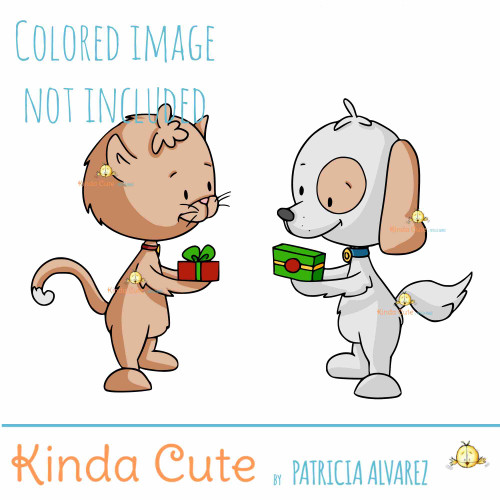 dog and cat exchanging gifts digital stamp