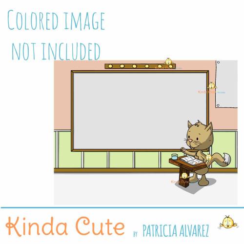 Cat giving a presentation digital stamp