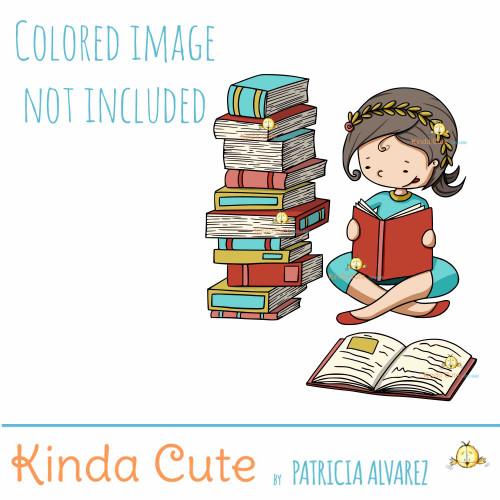 Girl reading. Athena digital stamp