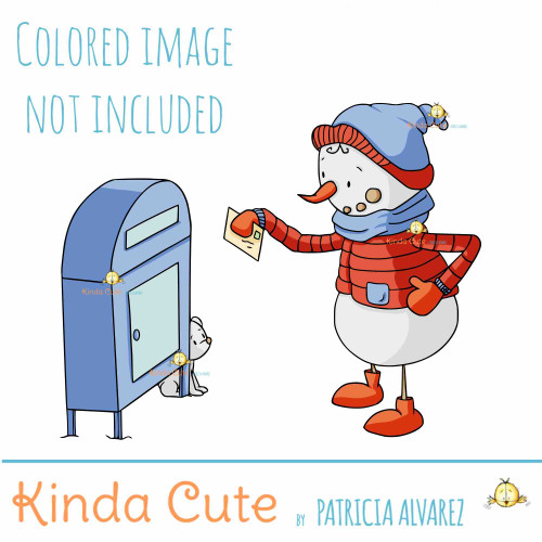 Snowman and mail digital stamp