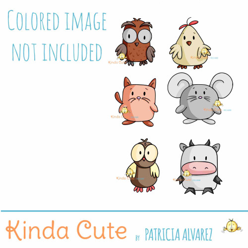Cute shaped animals digital stamp. Mouse, cat, cow, owl, chicken and cat digital stamps
