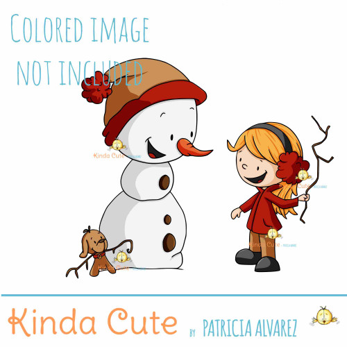 Just another branch. Snowman and girl digital stamp