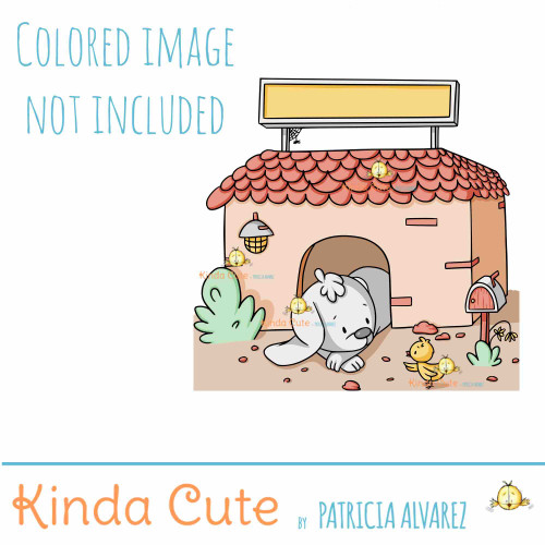 Dog house with dog digital stamp