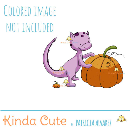 Dragon and pumpkin digital stamp