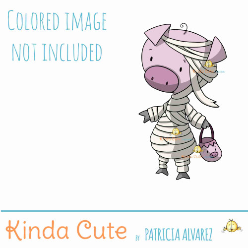 Mummy pig digital stamp