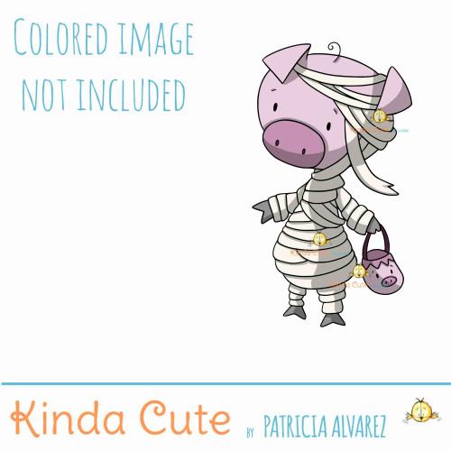 Mummy pig digital stamp