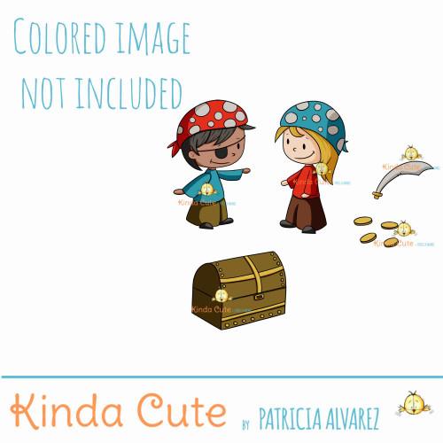 Pirate set digital stamp. Boy and girl pirates.