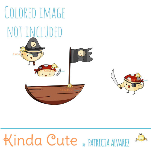 Pirate chicks digital stamp