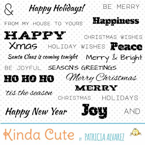 Christmas Basic Sentiments Digital Stamp Set