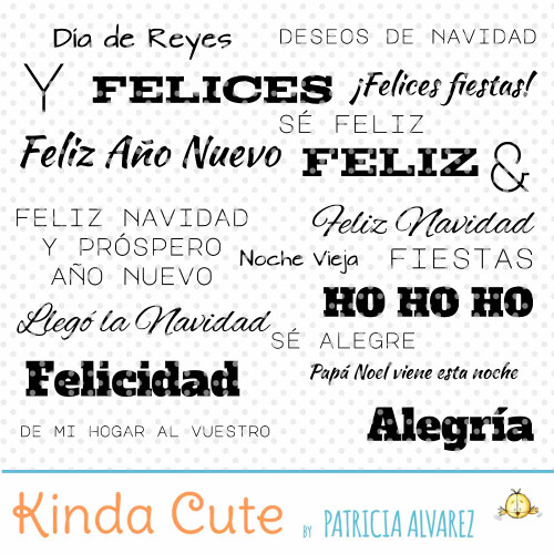 Christmas Basic Sentiments in Spanish Digital Stamp Set