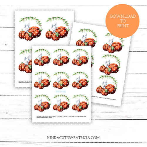 Rabbit among pumpkins fall colored printable pages