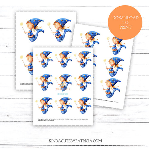 Sorcerer mermaid with wizard hat colored printable pages