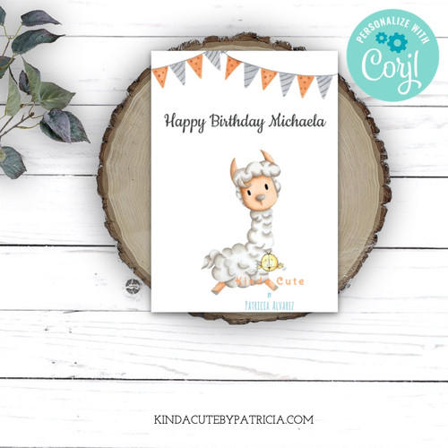 Personalized Llama Birthday Printable Card. Editable file