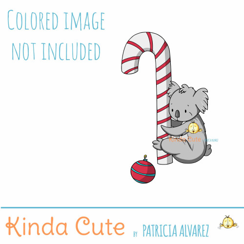 Koala and candy cane digital stamp