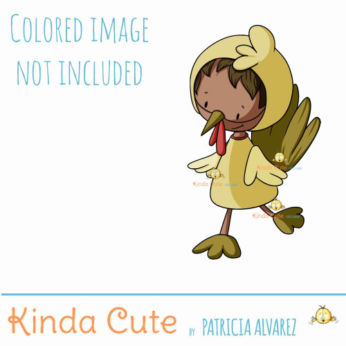 Kid in chicken costume digital stamp. Black and white only