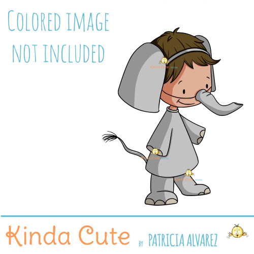 Kid in elephant costume digital stamp.