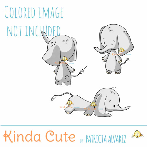 Elephant digital stamp set