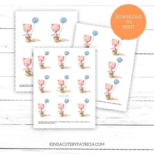 Mer pig with blue balloon colored printable pages