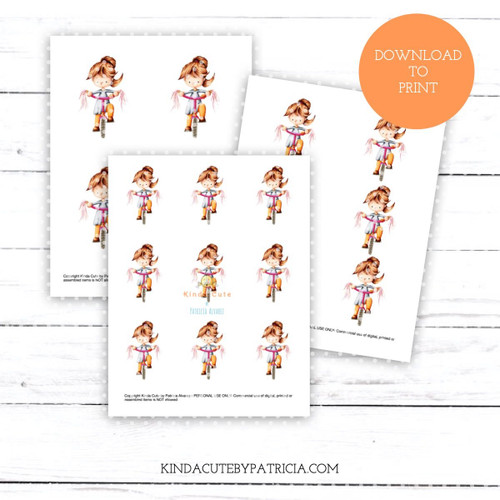 Girl riding a bicycle colored printable pages