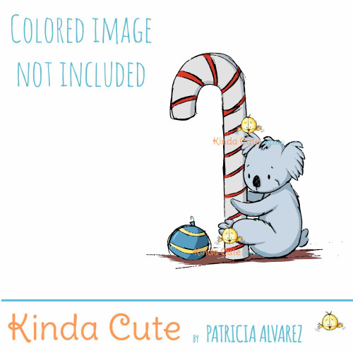 Koala Loves Candy Cane Sketch digital stamp
