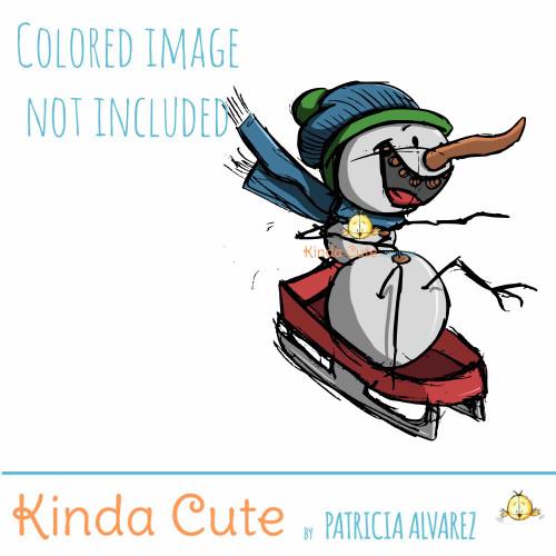 Snowman Sledding Sketch digital stamp