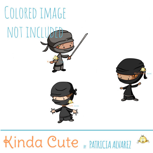 Ninja Digital Stamp Set. Black and white only