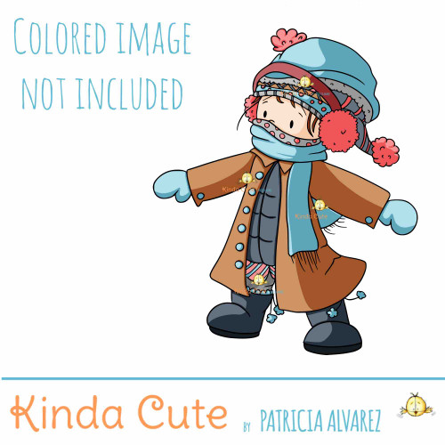 Cold Cold Cold. Girl with Coats Digital Stamp