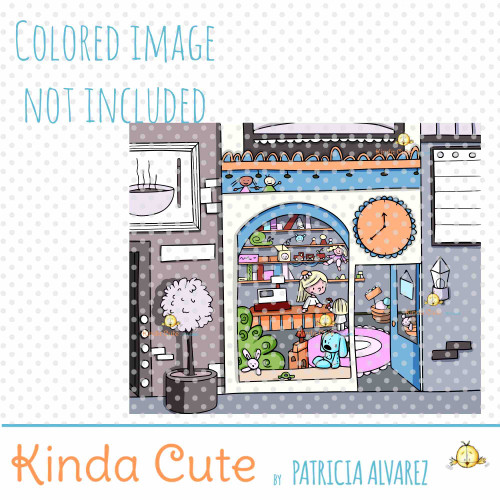 Toy Store Front Background Digital Stamp