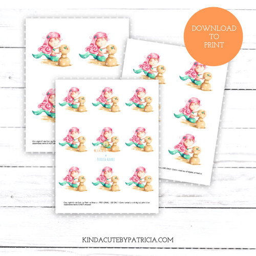 Mermaid Playing with Sand Christmas Colored Printable Pages