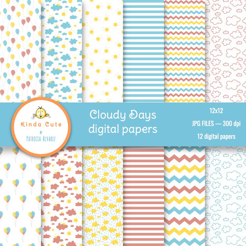 Cloudy Days Digital Papers