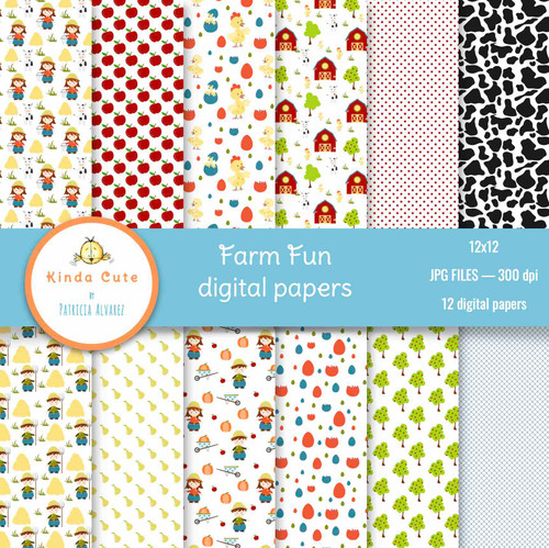 Farm Fun Digital Paper Pack
