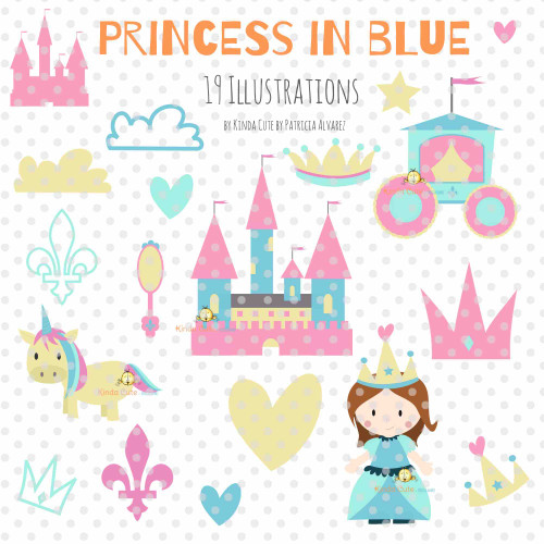Princess in Blue Digital Clipart
