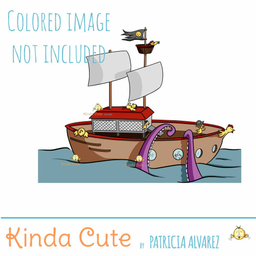 Chicken Pirate Ship Digital Stamp