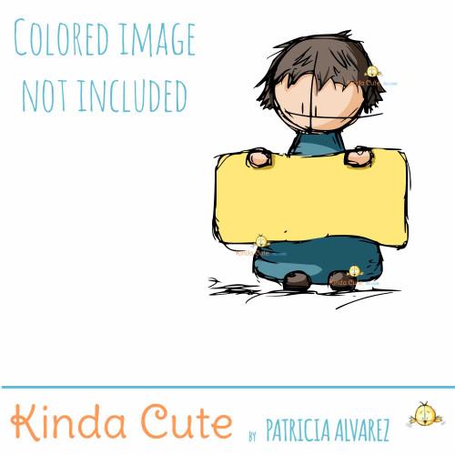 Boy with Sign Sketch Digital Stamp