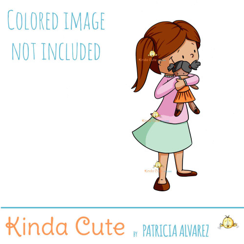 Girl Hugging Doll Digital Stamp