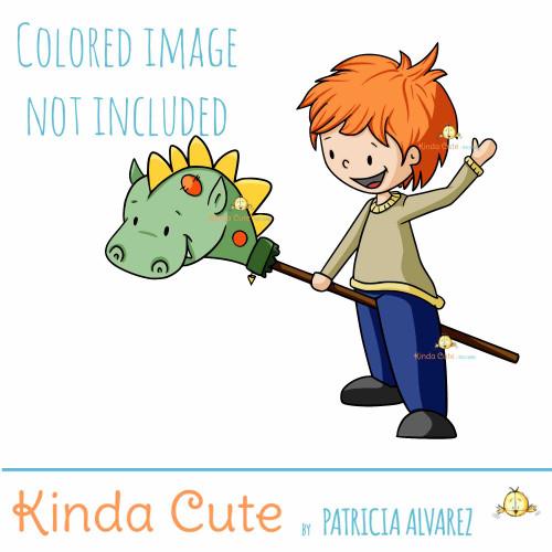 Boy Playing Dragons Digital Stamp